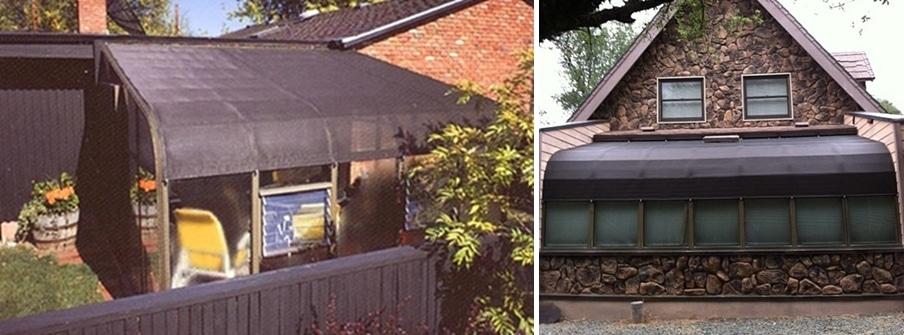 Exterior sunroom shades and greenhouse shades - fixed for year long shading.
