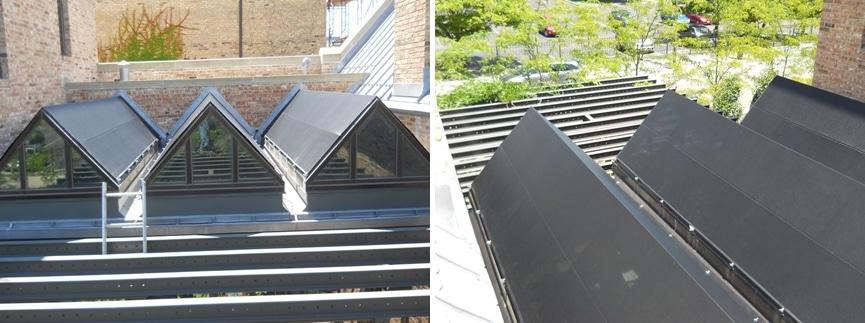 Exterior Solarium or Greenhouse Shades, fixed.